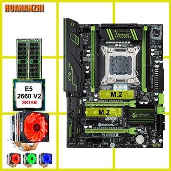 Распродажа, фирменная материнская плата HUANANZHI X79 Pro с двойным M.2 слотом NVMe SSD для процессора Intel Xeon E5 2660 V2, 6 трубок, кулер, ОЗУ 32 Гб (2*16 Гб)