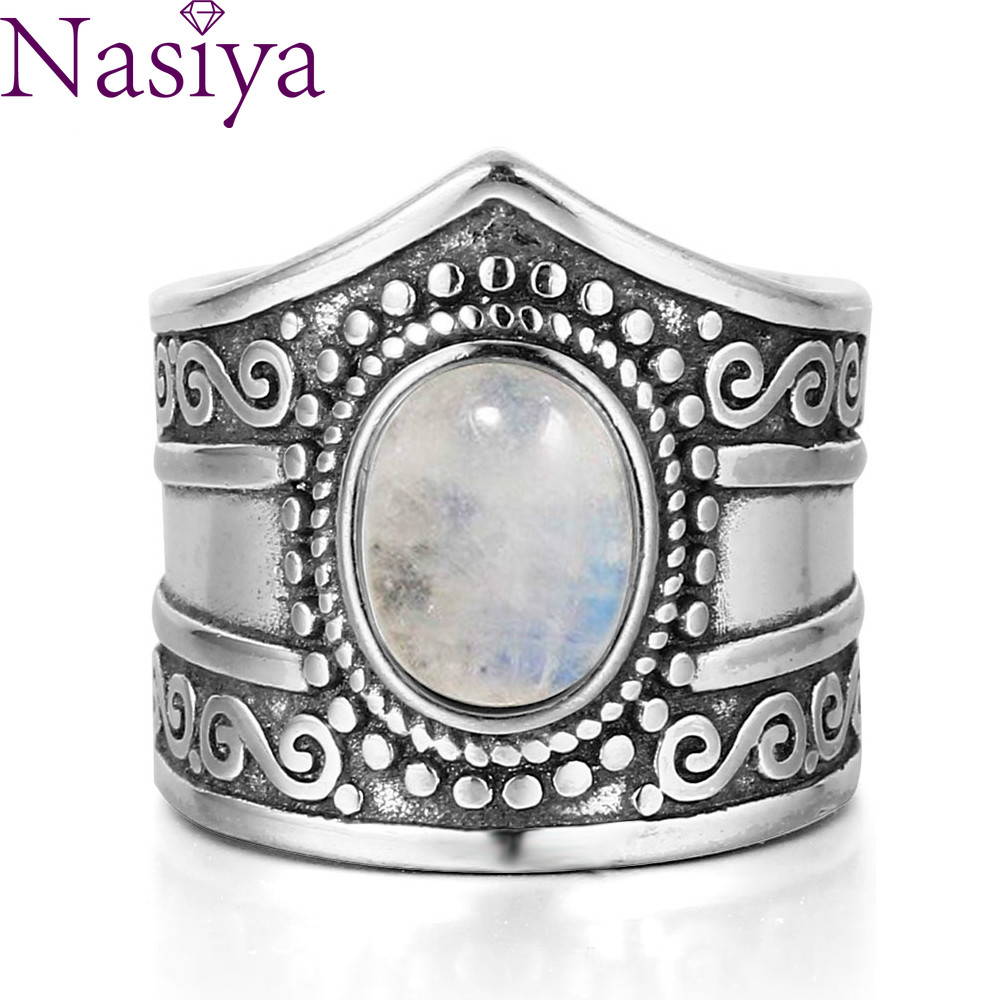 Vintage Fine Jewelry  7*9MM Big Natural Rainbow Moonstone Rings 925 Sterling Silver Ring For Women Anniversary Gifts
