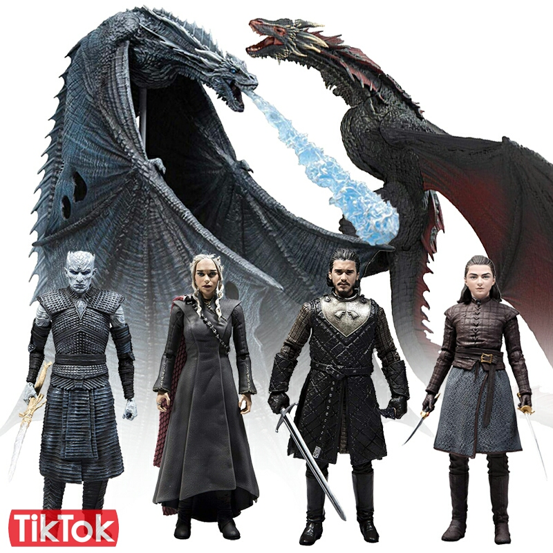 Jon Snow Daenerys Targaryen Night King Viserion Ice Dragon Arya Stark Dragon Queen White Walkers Toy Action Figure Model Doll(China)