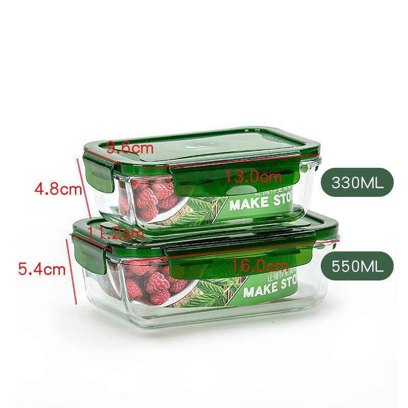 3 piezas/se puede calentar en horno microonda lonchera para oficinista de vidrio a prueba de fugas lonchera conjunto redondo con tapa sello comida saludable