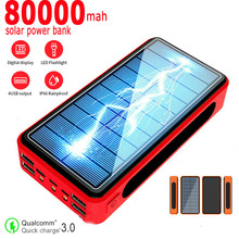 80000mAh Power Bank Wireless Charging Solar Battery Panel With 4USB Output Port Large capacity Charger for Samsung Xiaomi IPhone
