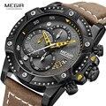MEGIR часы для мужчин лучший бренд класса люкс Хронограф Наручные часы модные черные водонепроницаемые военные спортивные мужские часы Relogio ...