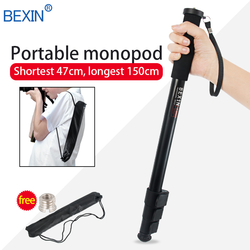 Trípode portátil aluminio ajustable monopié ligero soporte de teléfono de cámara con almohadilla de pie desmontable para cámara Digital SLR DSLR