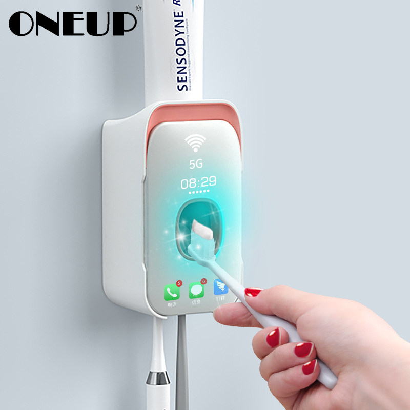 ONEUP New Automatic Toothpaste Squeezer Plastic Toothbrush Holder Wall Mount Lazy Toothpaste Dispenser Bathroom Accessories
