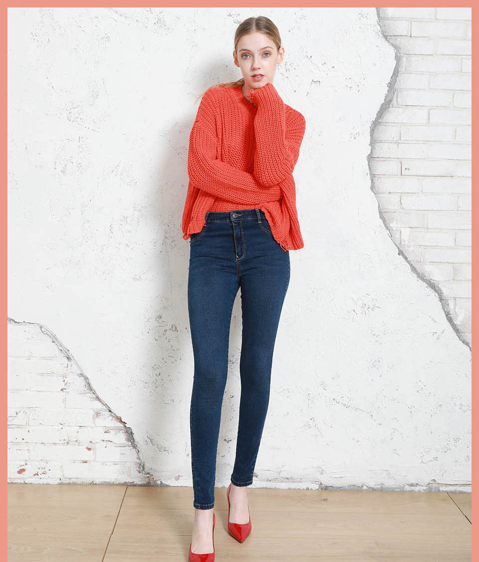 Autumn Winter Women Denim Skinny Pants Super Stretch Fake Front Pocket Waist Blue Grey Black White Slim Elastic Lady Jeans 14