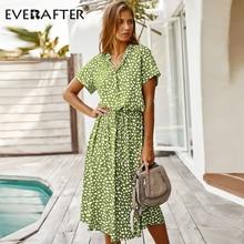 EVERAFTER Fashion Ladies Boho Leopard Print Shirt Dress Women Casual Midi Holiday Summer Dress Female High Waist Beach Dresses