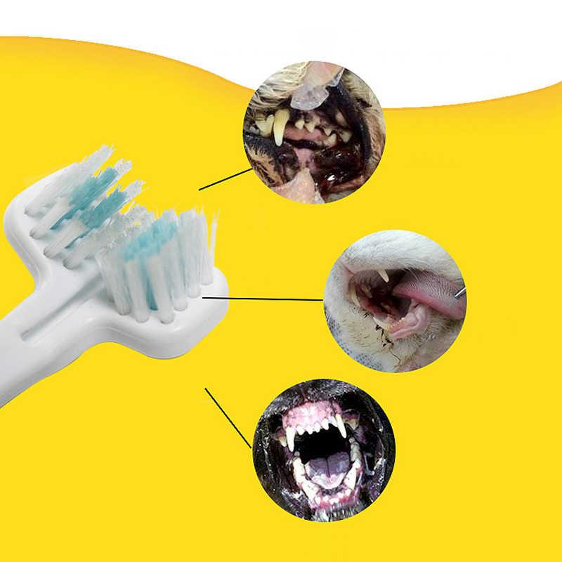 더블 헤드 애완 동물 칫솔 개 고양이 청소 입 용품 개 브러쉬 추가 나쁜 호흡 타르 타르 치아 관리
