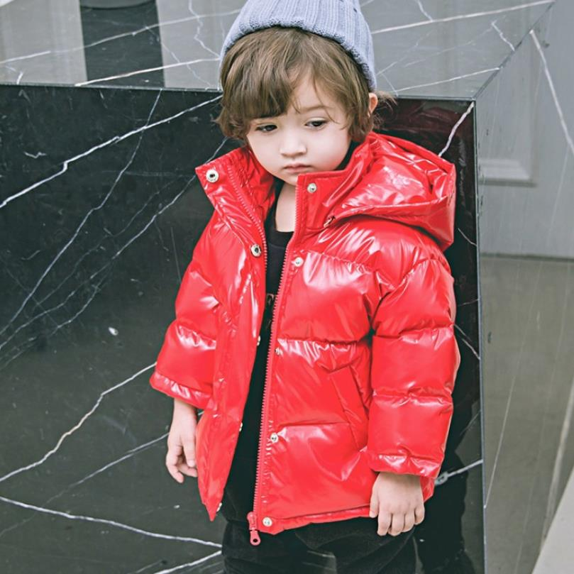 4 Colors Children Winter Down Coats Baby Boys Girls Glossy Hooded Duck Down Windproof Outerwear Modis Kids Down Jackets Y2443