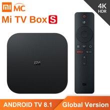 Versão global original xiaomi mi caixa de tv s 4k hdr android tv 2g 8g wifi google elenco netflix iptv conjunto caixa superior 4 media player