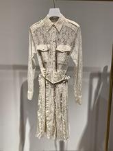 купить High quality lace dress 2019 autumn runways long sleeves hollow-out belt dress A720 по цене 5209.84 рублей