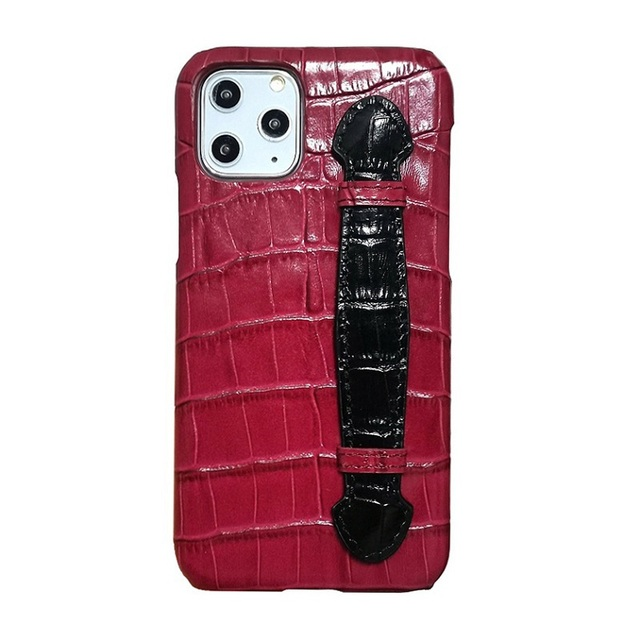 Genuine leather hand strap holder funda case for iPhone 11 12 Pro Max ProMax phone cover luxury crocodile thin hard cases Maroon 2