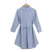 Maternity Fashion Stripe Dress Loose And Comfortable Dress Classic Blue Shirt Collar Dress Blue And White Vertical Stripes Dress(China)