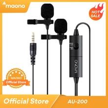 MAONO Dual Lavalier Microphone HandsFree Clip on Lapel Microphone Mini Collar Condenser Mic for Camera DSLR Phone PC Laptop
