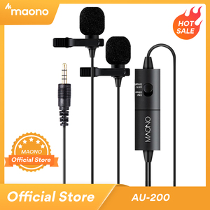 Image 1 - Maono Dual Lavalier Microfoon Handsfree Clip On Revers Microfoon Mini Kraag Condensator Microfoon Voor Camera Dslr Telefoon Pc Laptop