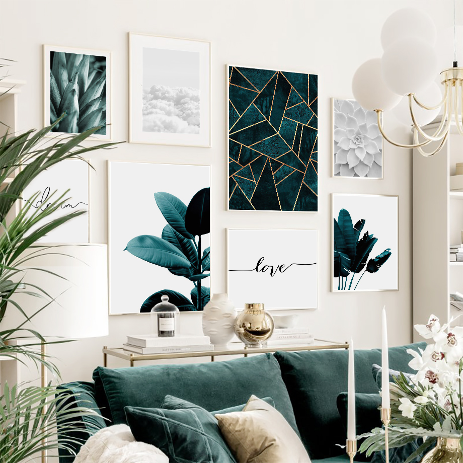 Green Fresh Banana Leaf Cloud Succulent Wall Art Canvas Painting Nordic Posters And Prints Wall Pictures For Living Room Decor