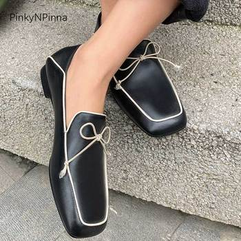 super soft women black beige loafers genuine leather sheepskin insole square toe slip on casual office holiday summer shoes