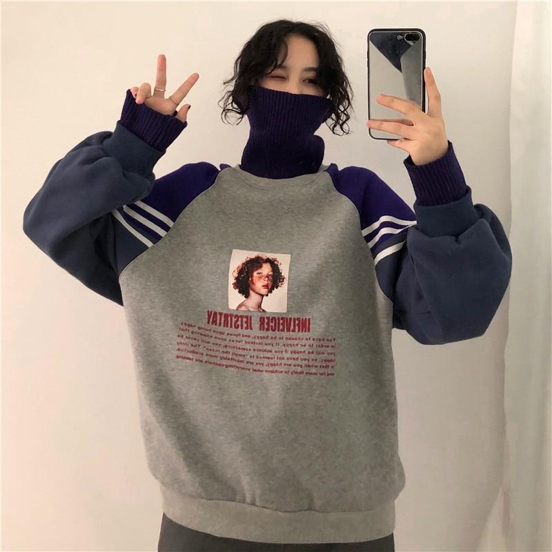 Sweatshirt Women Winter Oversize Tops Fashion Pattern Printed  2020 Hoodie Sweatshirt Autumn Turtleneck Outerwear Warm Pullover