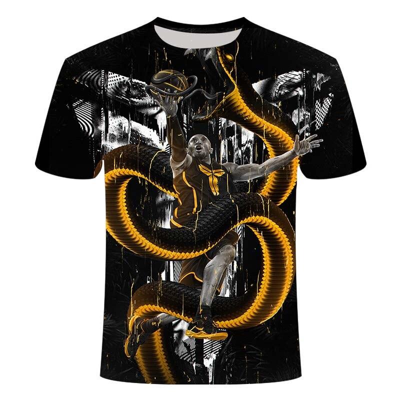 Moda yeni stil Kobe Bryant spor nefes 3D baskılı tişört erkekler/kadınlar yaz sıfır yaka bluzlar gündelik tişörtler
