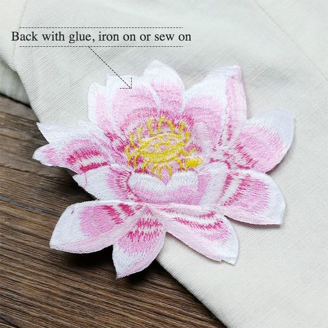 Фото аппликация для одежды lotus на заказ вышитая нашивка с цветами