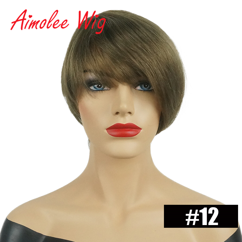 6 inch Short Synthetic Hair Wig Blend 70% Human Hair Black Brown Blonde Auburn Color Party Work Wigs for Women
