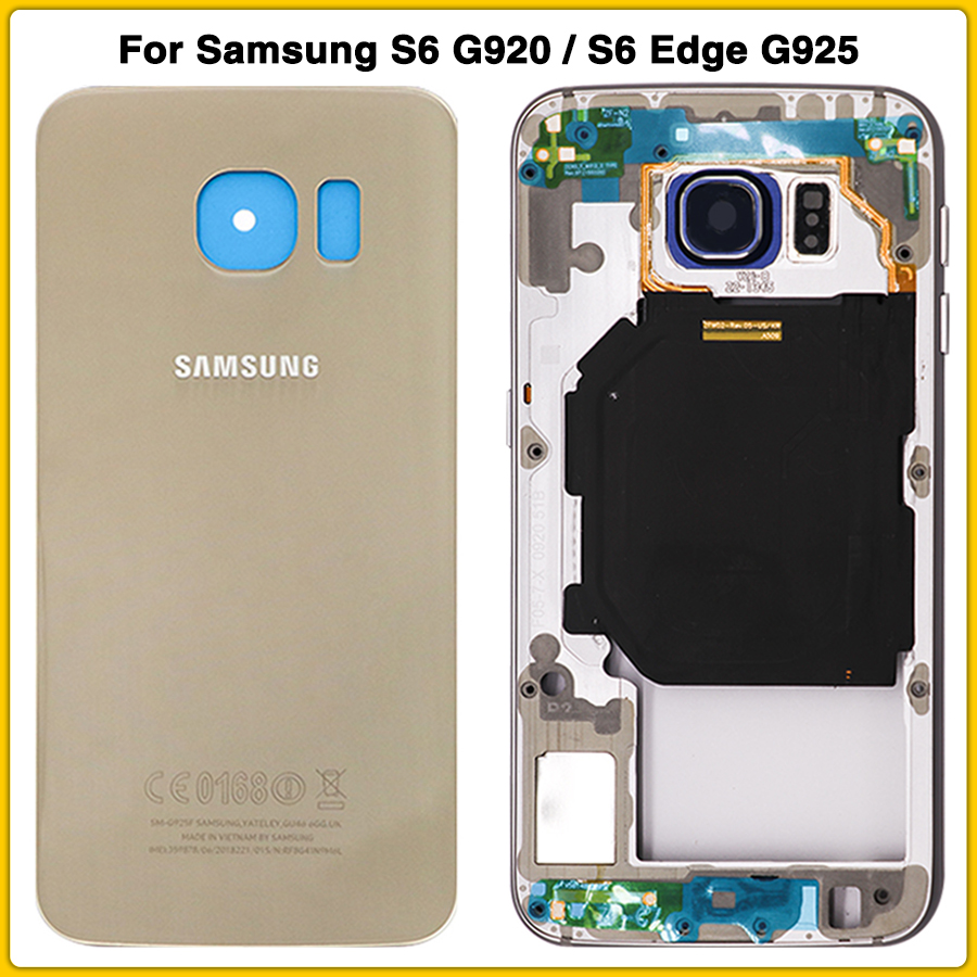 New S6 Full Housing Case For Samsung Galaxy S6 G920 / S6 Edge G925 Front Middle Frame + Battery Back Cover Door