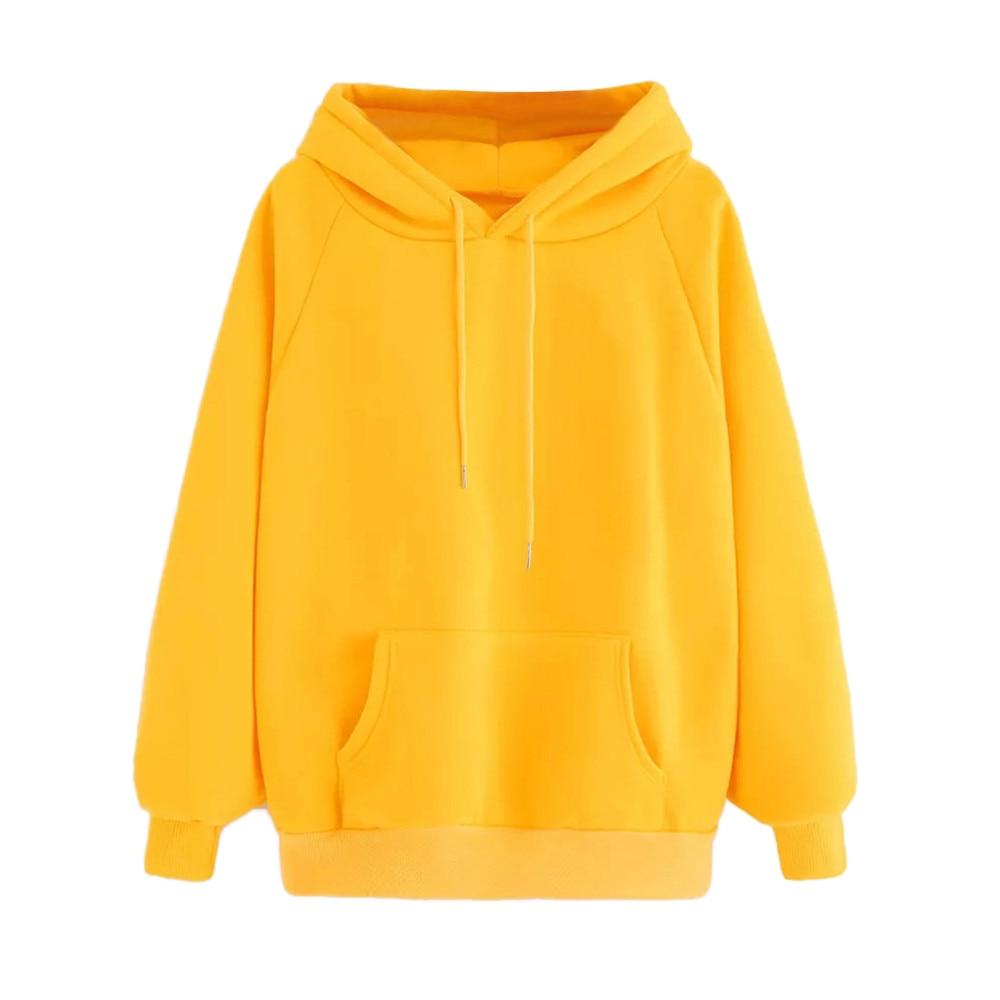 Winter Casual Fleece Women Hoodies Sweatshirts Long Sleeve Yellow Girl Pullovers Loose Hooded Female Thick Coat Blouse Pocket