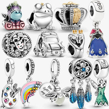 100% 925 sterling silver unicorn beads princess dress charm fit pandora bracelet women fine jewelry pendant girl gift making DIY