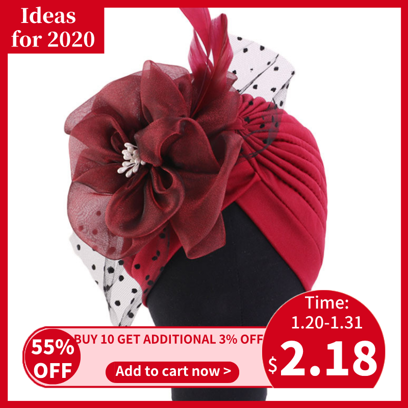 Helisopus Fashion Women Big Flower Turban Bridal Party Wedding Beanie Elegant Chemo Beanie Cap Hair Accessories