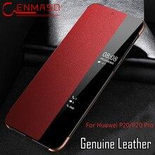 Voor Huawei P40 Pro Flip Case Smart Touch Window View Genuine Leather Cover Voor Huawei P40 P30 P20 Pro Telefoon bescherming Case