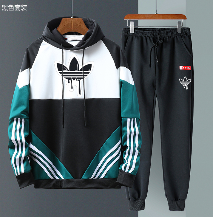 Men Casual Hoodies Strips Gym Walk Jogging Sport Tracksuit Coat Jacket Trousers Pants Suit Spring Fall Outfit 2PC