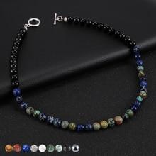 Men Natural Map Stone Tiger Eye Lapis Lazuli Stone Beads Necklace Hematite Lava Rock Choker Neck Chain Simple Jewelry 45cm/50mm