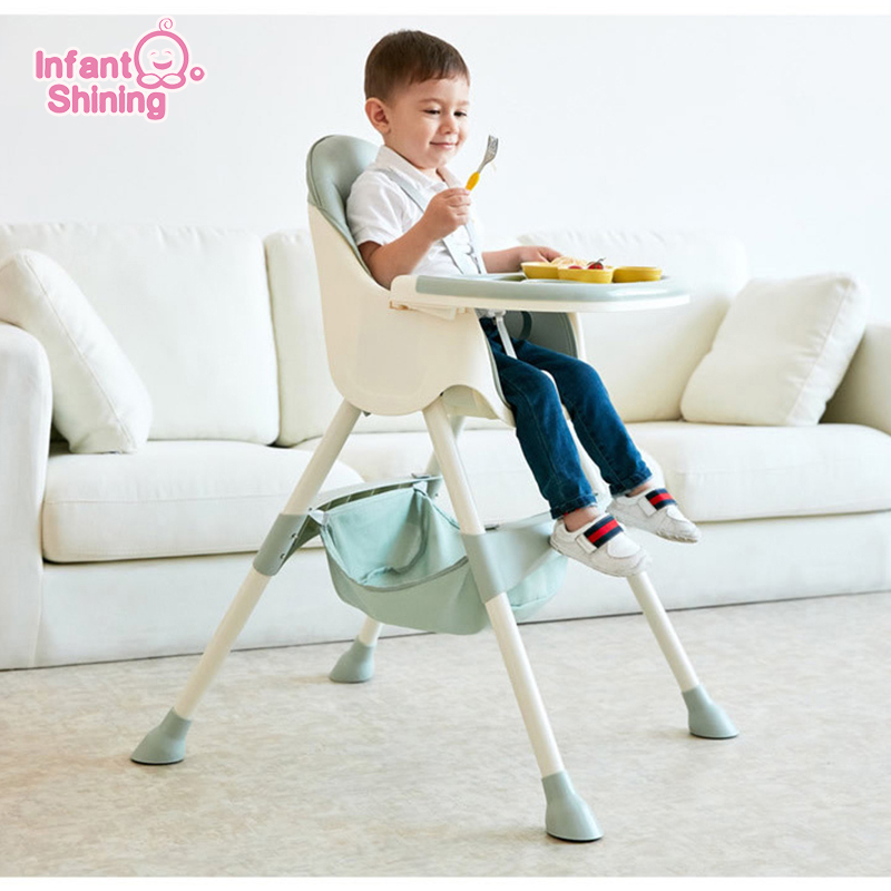 Infant Shining Kids Highchair Feeding Dining Chair Double Tables Macaron Multi-function Height-adjust Portable with Storage Bag