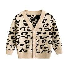 CALOFE/Детский свитер с леопардовой раскраской для мальчиков и девочек; сезон осень-зима; вязаный кардиган; свитер; пальто новая куртка для малышей; верхняя одежда