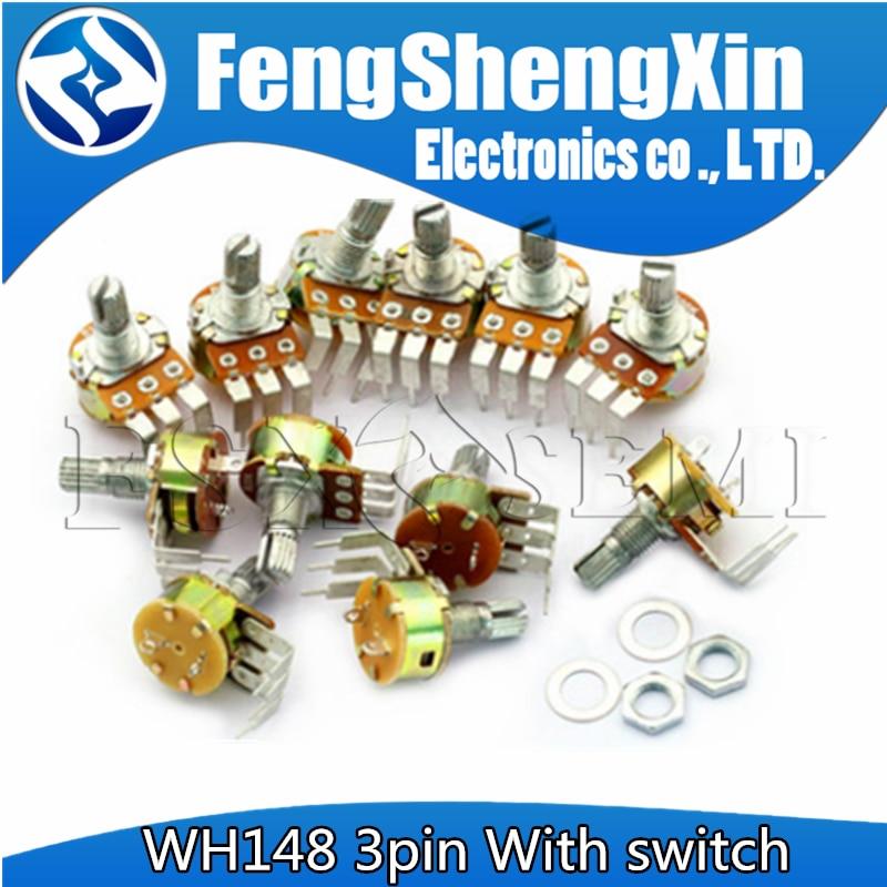 5pcs WH148 3pin Com interruptor de 15MM Curva pé 50 10 5K K K 100K 500K B5K B10K B100K B500K Potentiomete