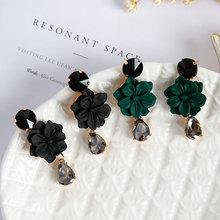 Женские Винтажные висячие серьги с цветком кристаллами в форме
