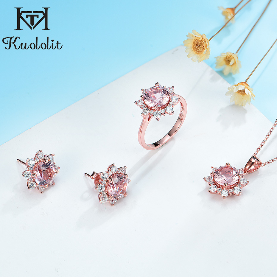 Kuololit Morganite Gemstone Jewelry Set for Women Solid 925 Sterling Silver Ring Earrings Necklaces Rose Gold Jewelry for Women