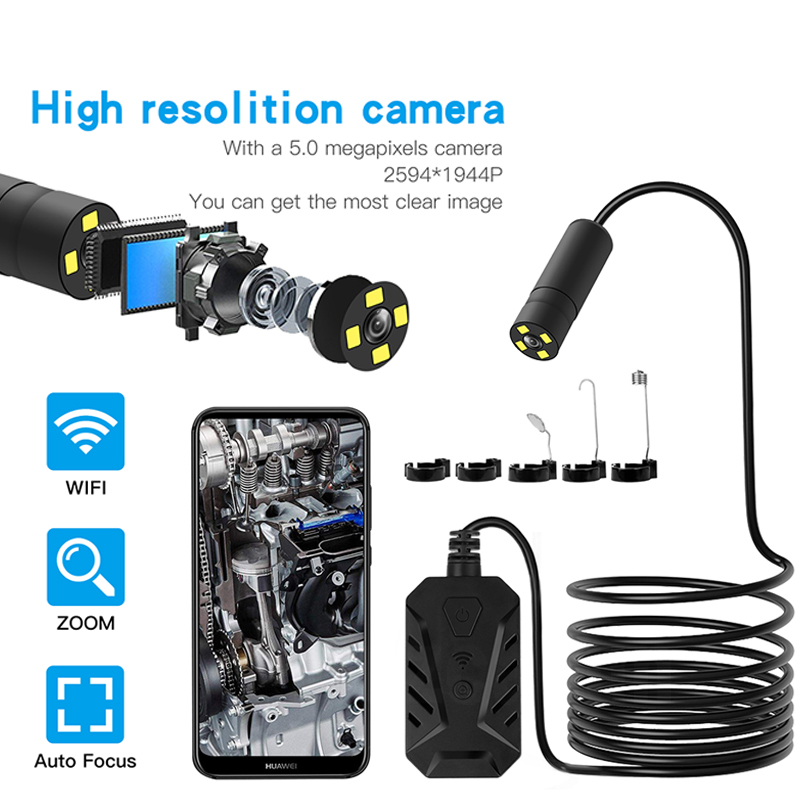 Zoom Lens Wifi Endoscope Camera Inspection Camera Borescope Probe Video Inspection for Android/iOS Phone Hd Hard Wire Tube Cam image