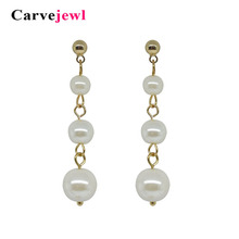 Carvejewl pearl earrings drop dangle for women party jewelry lovers bijoux plastic hook anti allergy korean