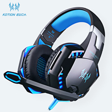 KOTION EACH PS4 Headset Wired Game Earphones Gaming Headphones Deep Bass Stereo gamer Casque Microphone with Backlight For PC cheap NONE Balanced Armature CN(Origin) 108dB 2 2m Line Type up to 32 Ω 3 5mm G2000 G9000 G4000 Semi-open Memory Foam 50mm 2200Ω