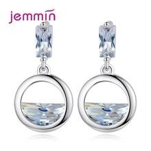 цена на Women Delicate 925 Sterling Silver Cubic Zirconia Drop Earrings Korean Trendy Piercing Geometric Ear Rings Round Geometric Gift