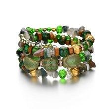 Женские плетеные браслеты ручной работы многоярусные зеленого
