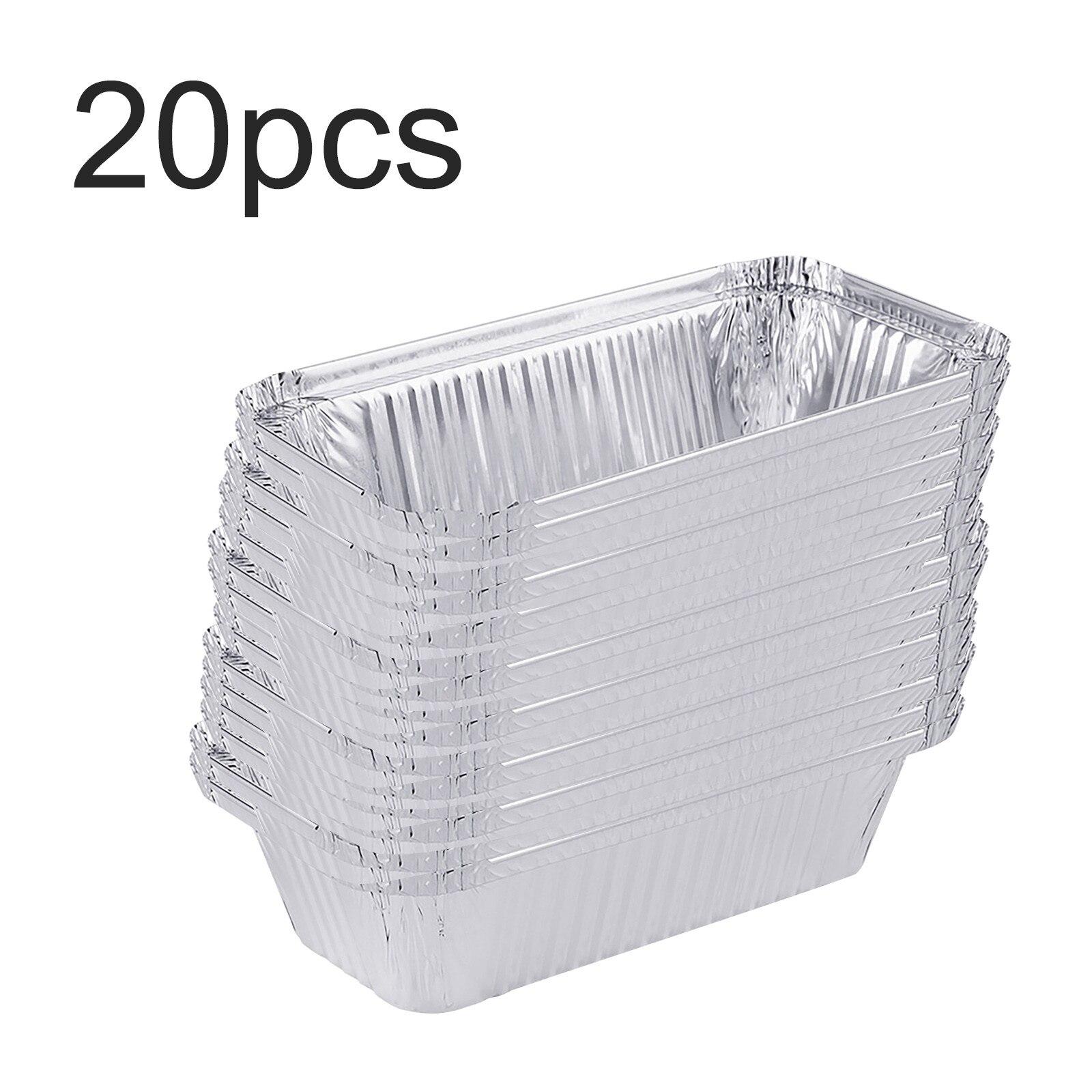 20pcs Foil Pans With Lids Aluminum Pans with Covers Disposable Food Containers BBQ Baking tin foil Wholesale Papel de aluminio