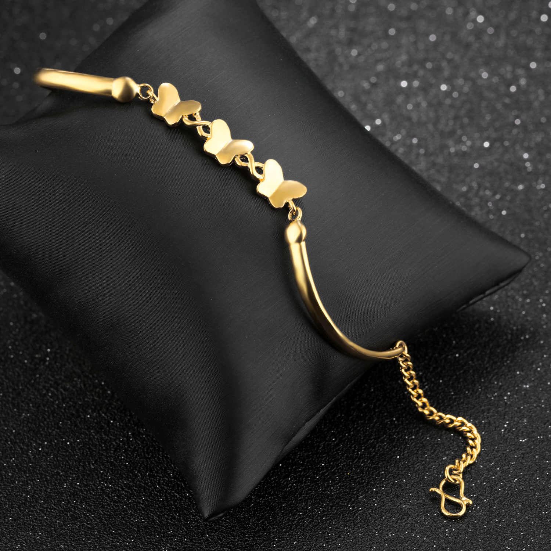 Opk mão jóias borboleta banhado a ouro 18k pulseiras acessórios femininos estilo coreano moda alluvial ouro moeda europeia br