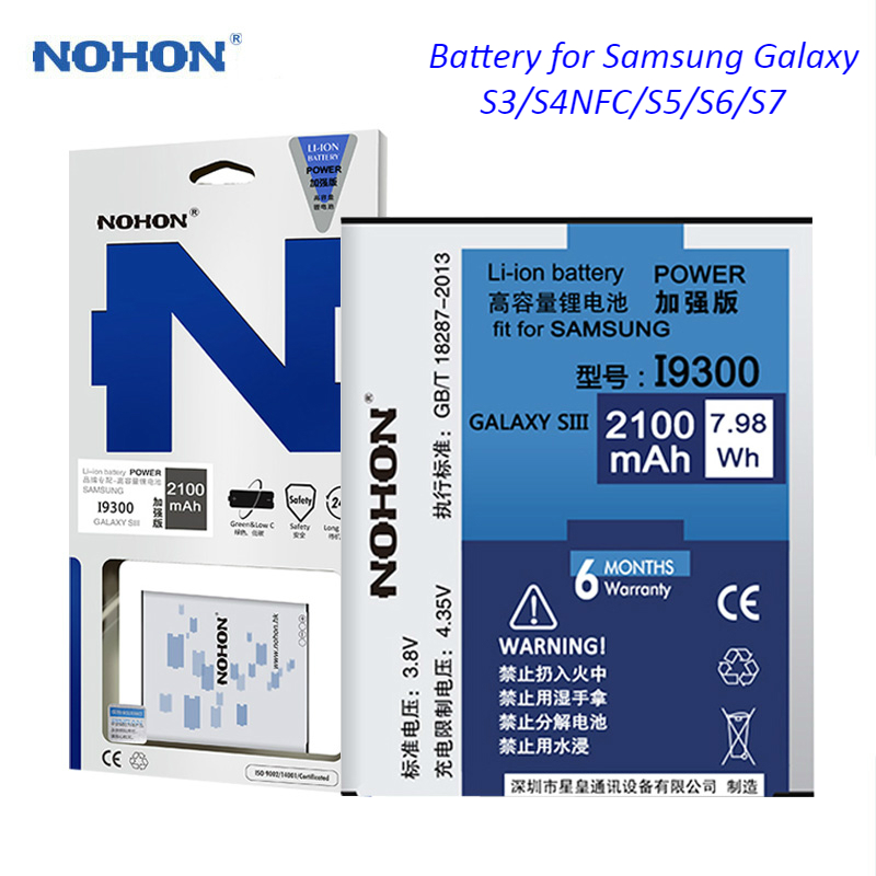 NOHON Mobile Phone Battery For <font><b>Samsung</b></font> Galaxy S3 S4 NFC <font><b>S5</b></font> S6 S7 i9300 i9500 G900 SM-G920 SM-G9300 Real High Capacity <font><b>Bateria</b></font> image
