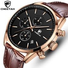2021 novos homens relógio cheetah à prova dwaterproof água quartzo relógios cronógrafo esporte relógio de pulso de couro negócios masculino relógio com caixa