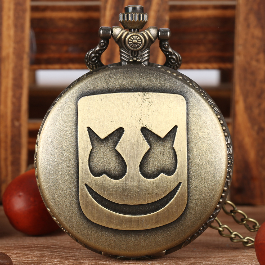 Bronze Rectangle Clown Mask Pocket Watches Black/Silver Quartz Necklace Chain Pendant Clock Hours Men Women Gifts Reloj Hombre
