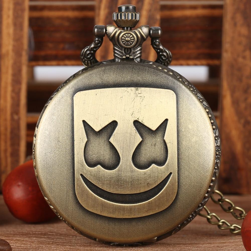 Bronze Rectangle Clown Mask Pocket Watches Black/Silver Quartz Necklace Chain Pendant Clock Hours Men Women Gifts Reloj Hombre