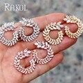 Rakol moda cor branca cz zircônia cristal folha do parafuso prisioneiro brincos para as mulheres de luxo cristal jóias casamento re4557k