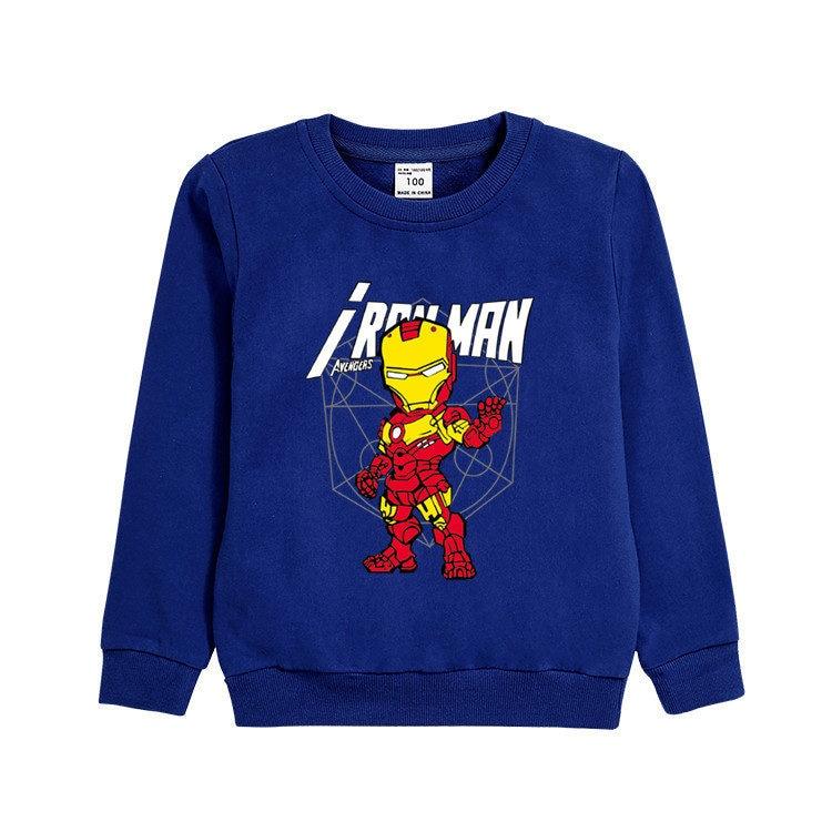 3~8 Years Autumn winter children's clothing Cartoon anime Iron hero Long-sleeved shirt T-shirt cotton blouse boy clothes gift 3