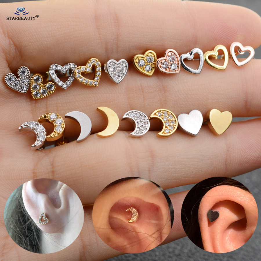 Starbeauty Studs Ear-Piercing Cartilage-Earrings Heart-Tragus Silver Gold-Color Gem Moon